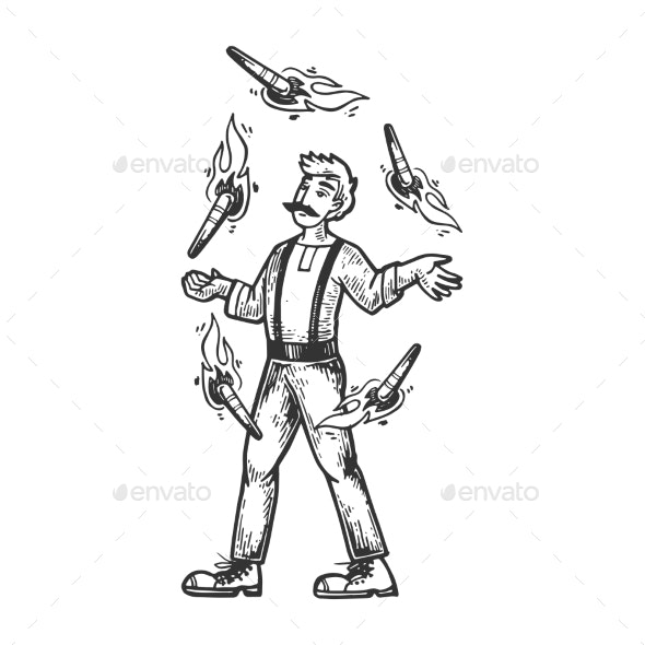 Circus Fire Juggler Performer Engraving Vector - Miscellaneous Vectors