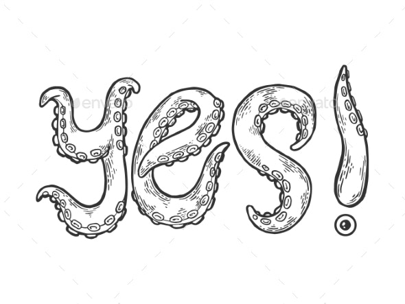 Yes Word Made By Octopus Tentacles Illustration - Miscellaneous Vectors