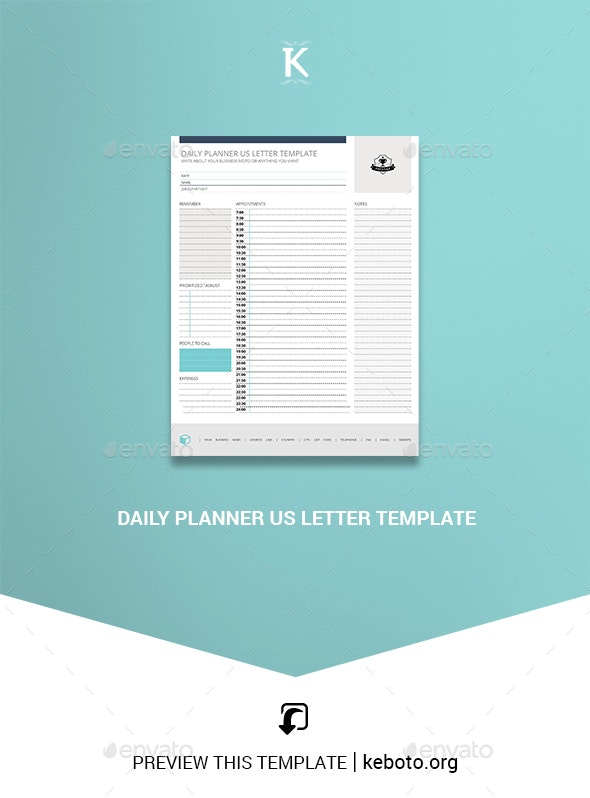 Daily Planner US Letter Template - Miscellaneous Print Templates