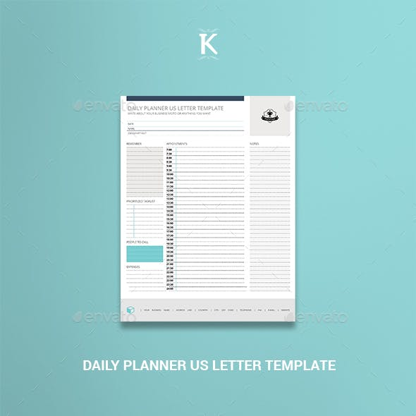 Daily Planner US Letter Template