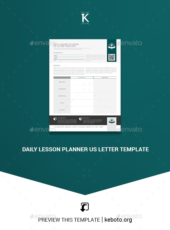 Daily Lesson Planner US Letter Template - Print Templates
