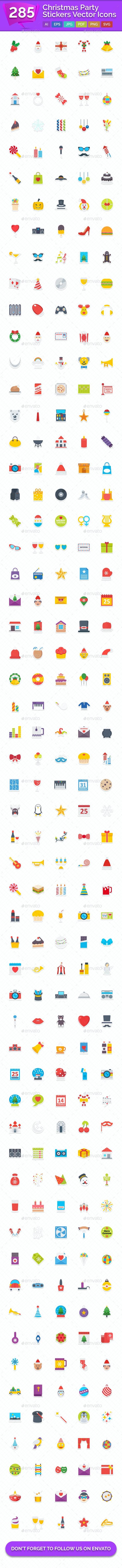 285 Christmas Party Vector Stickers Icons - Icons