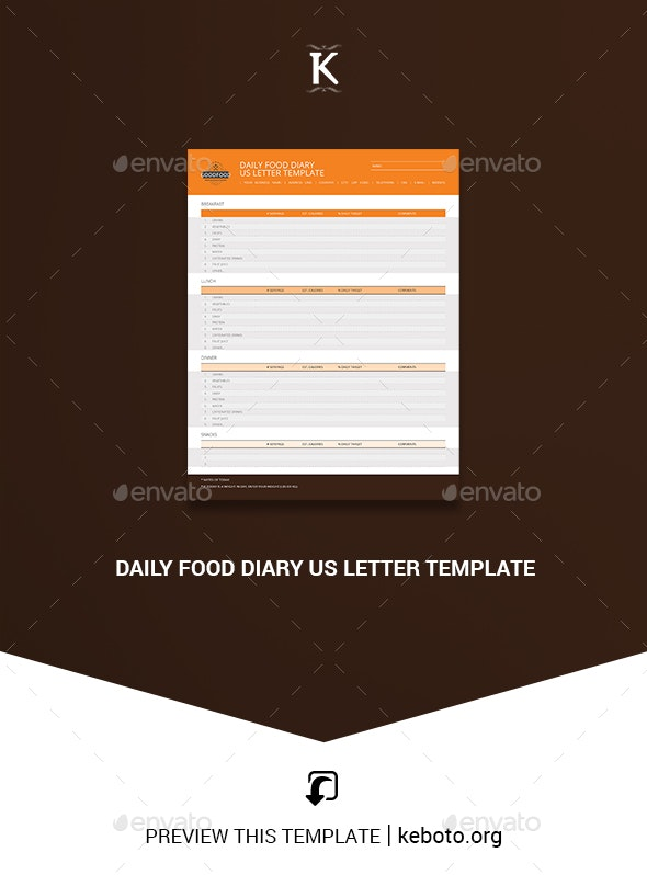 Daily Food Diary US Letter Template - Miscellaneous Print Templates