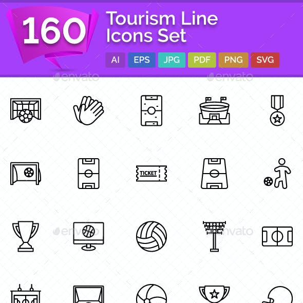 160 Tourism Line Icons Set