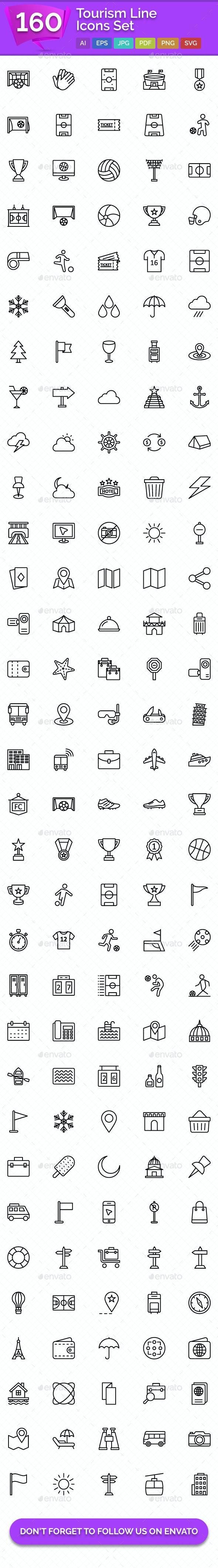 160 Tourism Line Icons Set - Icons