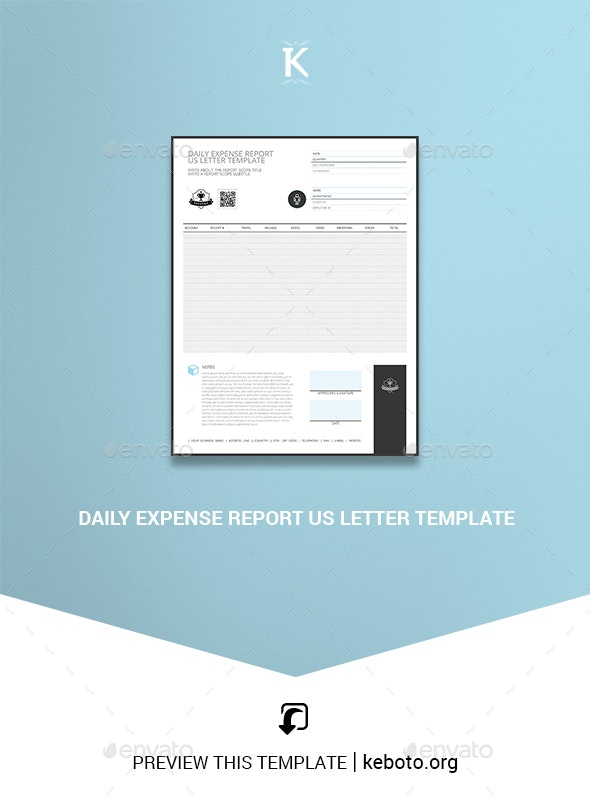 Daily Expense Report US Letter Template - Miscellaneous Print Templates