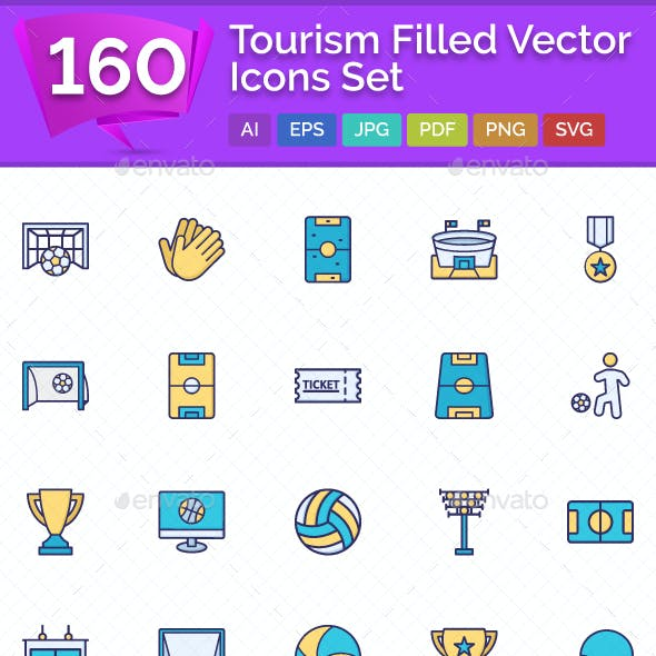 160 Tourism Filled Icons Set