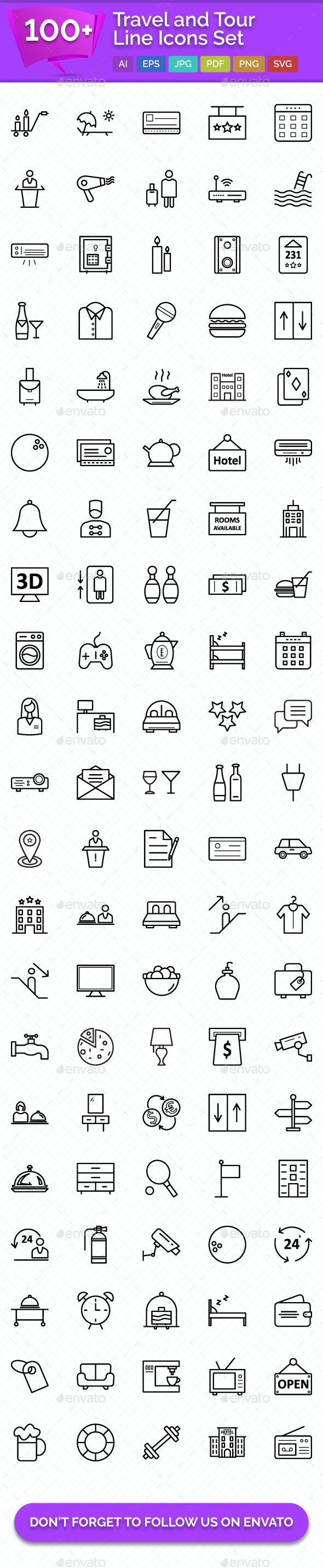 100+ Travel and Tour Line Icons Set - Icons