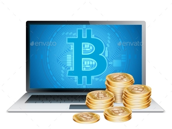 Laptop and Golden Bitcoins - Concepts Business