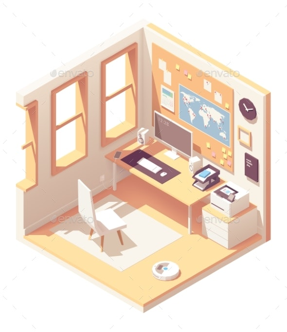 Vector Isometric Home Office Room - Computers Technology
