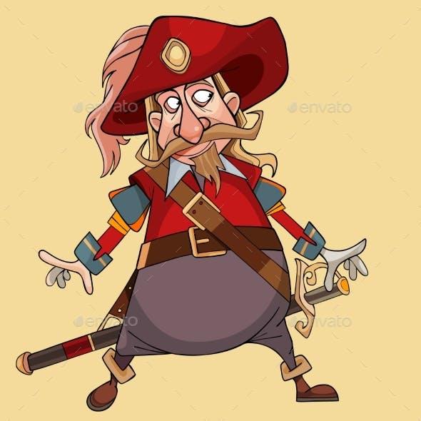 Cartoon Character Mustache Man in Musketeer