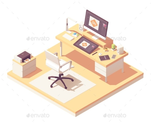 Vector Isometric Graphic Designer Workplace - Man-made Objects Objects