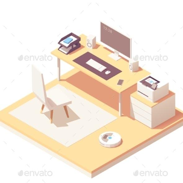 Vector Isometric Office Room