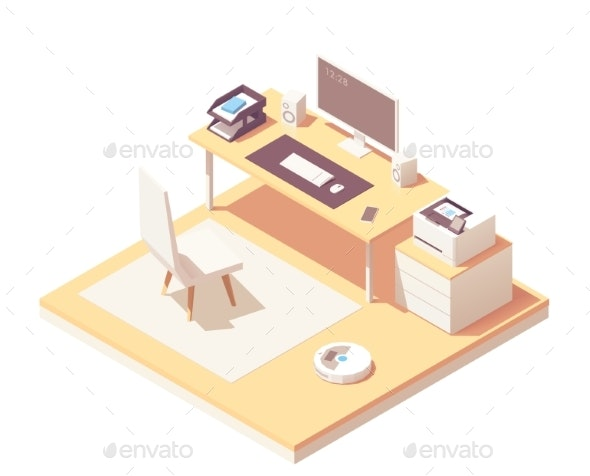 Vector Isometric Office Room - Computers Technology