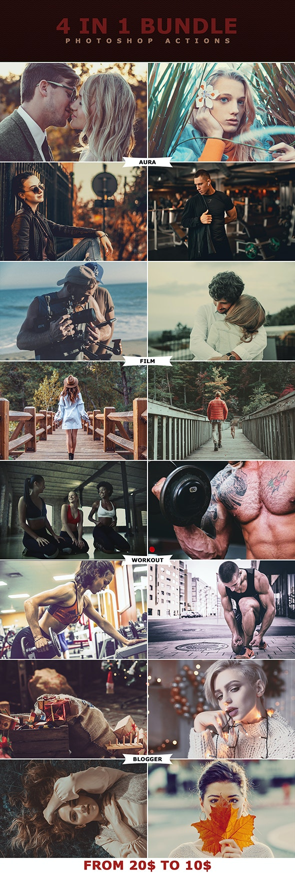 4 IN 1 Photoshop Actions Bundle - Photo Effects Actions