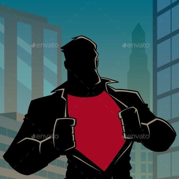 Superhero Under Cover Casual in City Silhouette