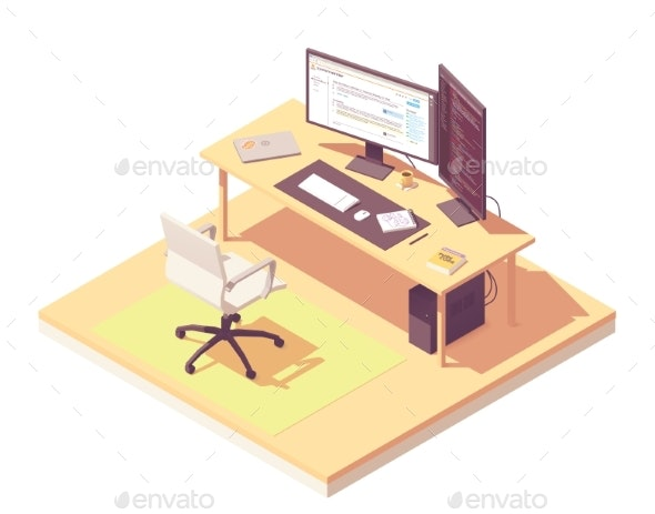 Vector Isometric Programmer Workplace - Computers Technology