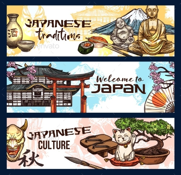 Japan Symbols of History, Religion and Culture - Seasons/Holidays Conceptual