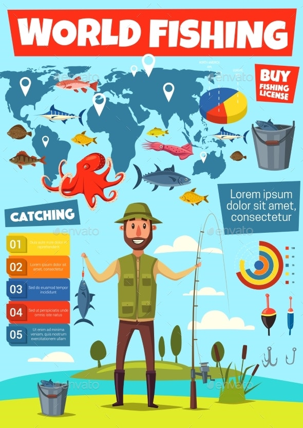 Fishing Sport Infographic with Fish Catching Chart - Sports/Activity Conceptual