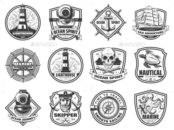 Sea Anchor, Sailing Ship and Helm. Nautical Badges - Buildings Objects