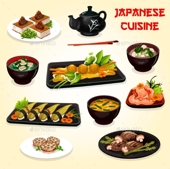 Japanese Cuisine Sushi, Meat and Seafood Dishes - Food Objects