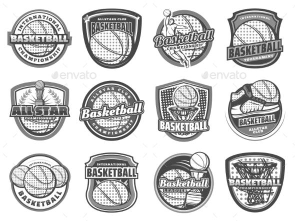 Basketball Ball, Basket, Player. Sport Icons - Sports/Activity Conceptual