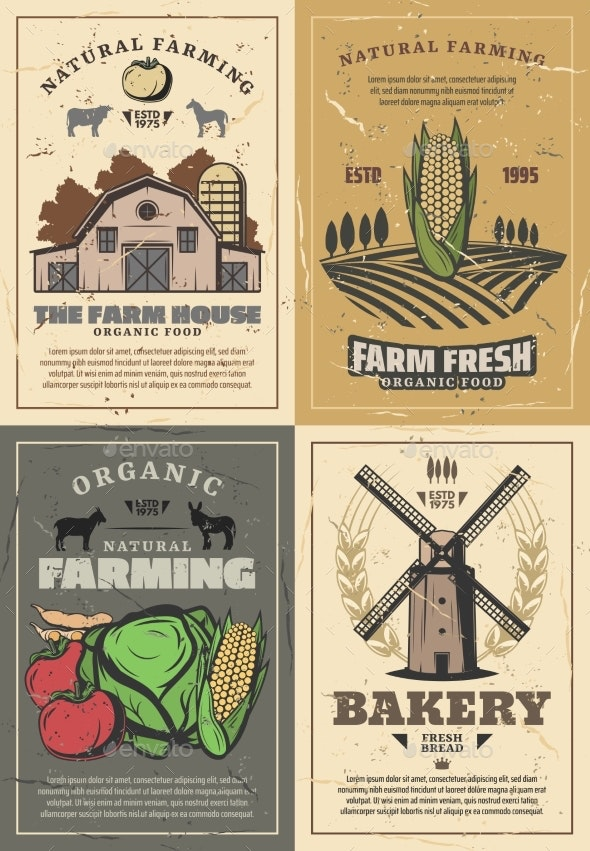 Farming Farm Barn, Field, Vegetables and Animals - Industries Business