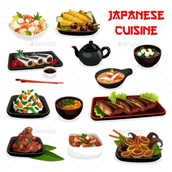 Japanese Cuisine Soup, Salad and Seafood Stew Dish - Food Objects