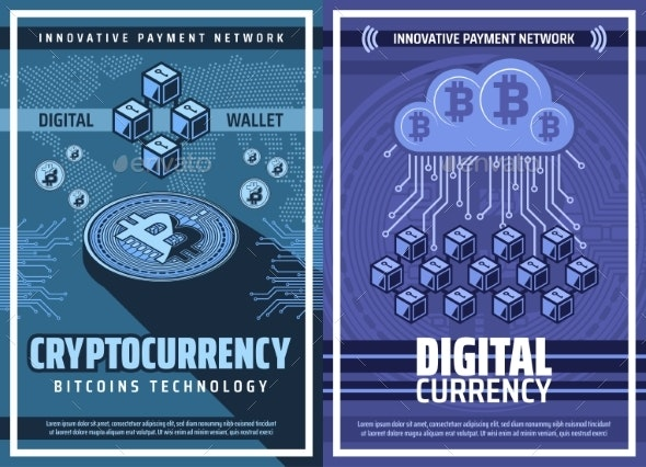 Bitcoin Cryptocurrency and Blockchain Technology - Technology Conceptual