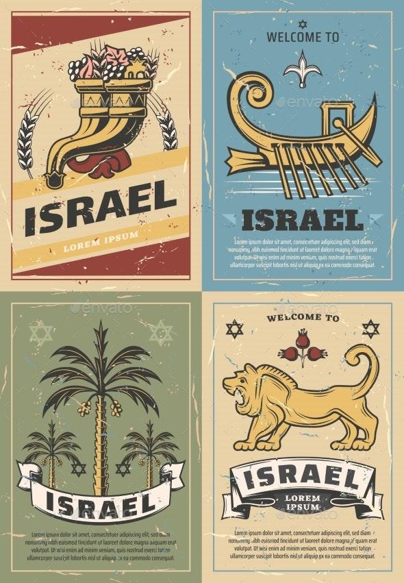 Israel Cornucopia, Lion, David Star and Date Palm - Objects Vectors