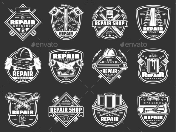 Work Tools Badges. Construction and Repair Service - Man-made Objects Objects