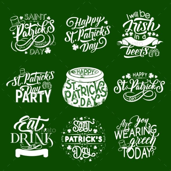 St Patrick Day Irish Traditional Greeting Icons