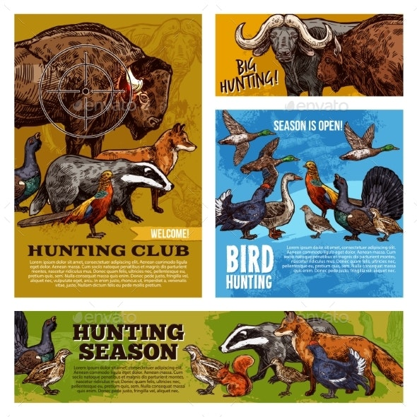 Hunting Animals and Birds with Hunter Target - Sports/Activity Conceptual