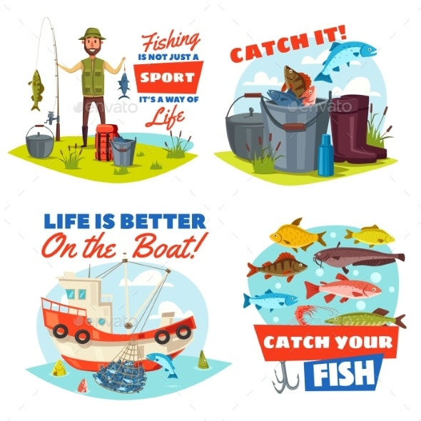 Fisherman, Fishing Boat and Fish Catch Icons - Sports/Activity Conceptual