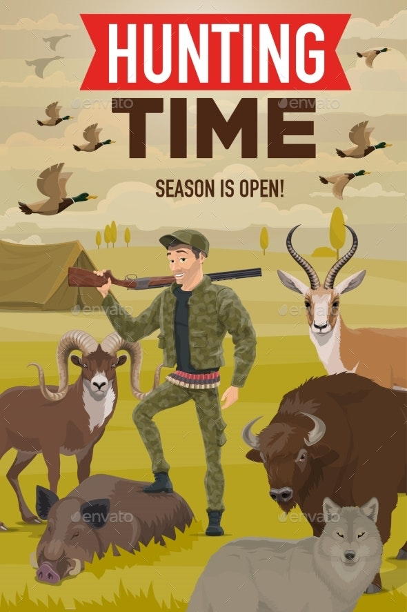 Hunter with Hunting Trophy, Gun, Animals and Birds - Sports/Activity Conceptual