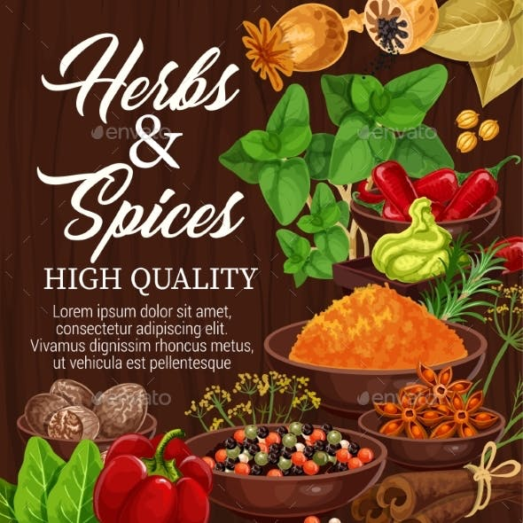 Herbs, Spices, Food Condiments on Wood Background