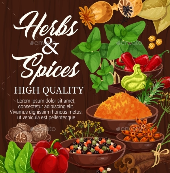 Herbs, Spices, Food Condiments on Wood Background - Food Objects