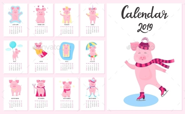 12 Calendar Cards with Funny Pigs for Each Month - Animals Characters