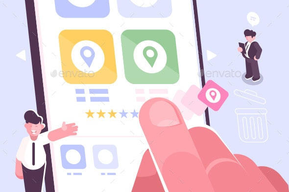Hand Putting Star Symbol to Increase Rating of App - Miscellaneous Vectors