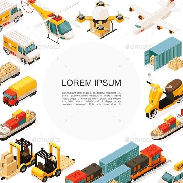 Isometric Logistics And Transportation Template - Miscellaneous Vectors