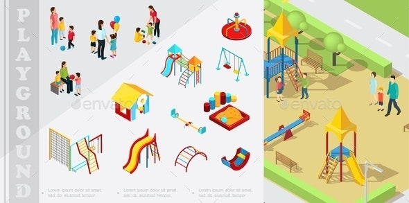 Isometric Kids Playground Elements Composition - People Characters