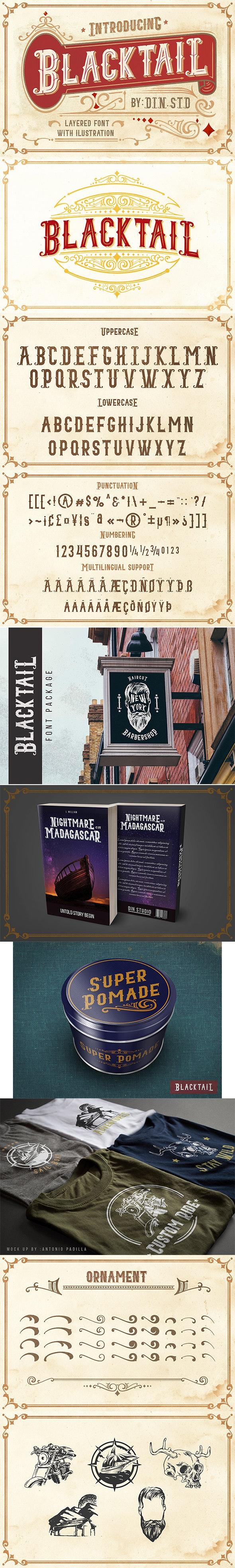 Blacktail - Vintage Font - Stencil & Type Decorative
