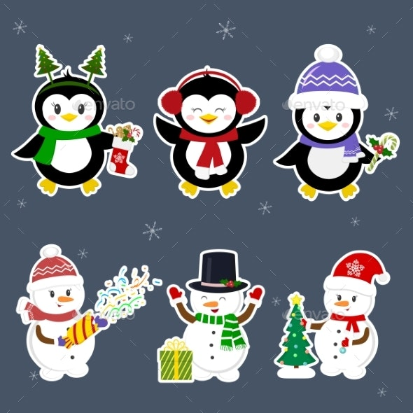 New Year and Christmas Card Snowman - Animals Characters