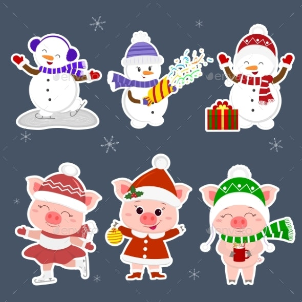 New Year and Christmas Card Characters - Animals Characters
