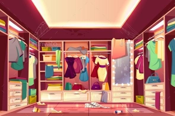 Messy Walk in Closet Interior Cartoon Vector - Backgrounds Decorative