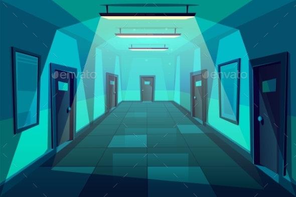 Modern Office Corridor at Night Cartoon Vector - Backgrounds Decorative