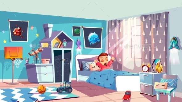 Little Girl Waking Up In Bedroom Vector By Vectorpouch Graphicriver