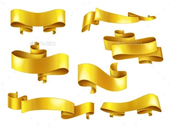 Golden Ribbons with Copyspace Realistic Vector Set - Decorative Symbols Decorative