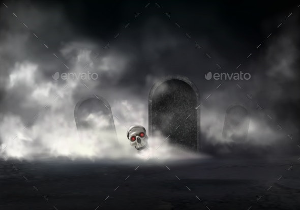 Risen Zombie at Night Graveyard Realistic Vector - Backgrounds Decorative