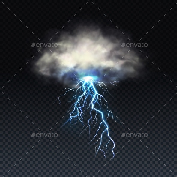 Vector Realistic Blue Lightning with Grey Cloud - Landscapes Nature